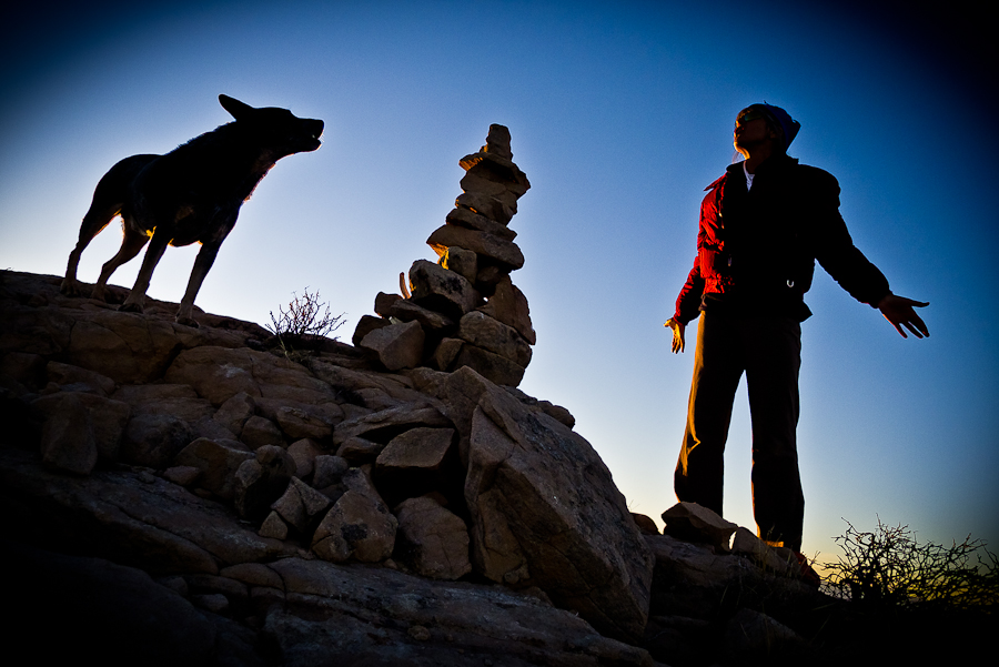 Silouette of dog, rocks, outdoor person